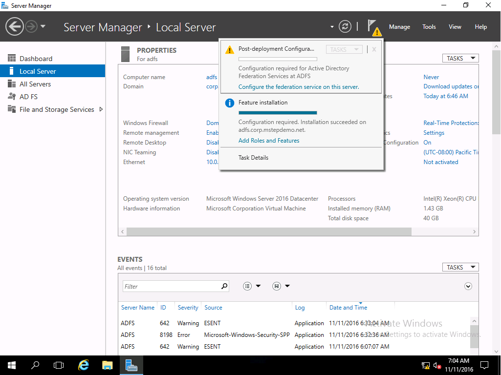 Prepare and Deploy Windows Server 2016 Active Directory Federation