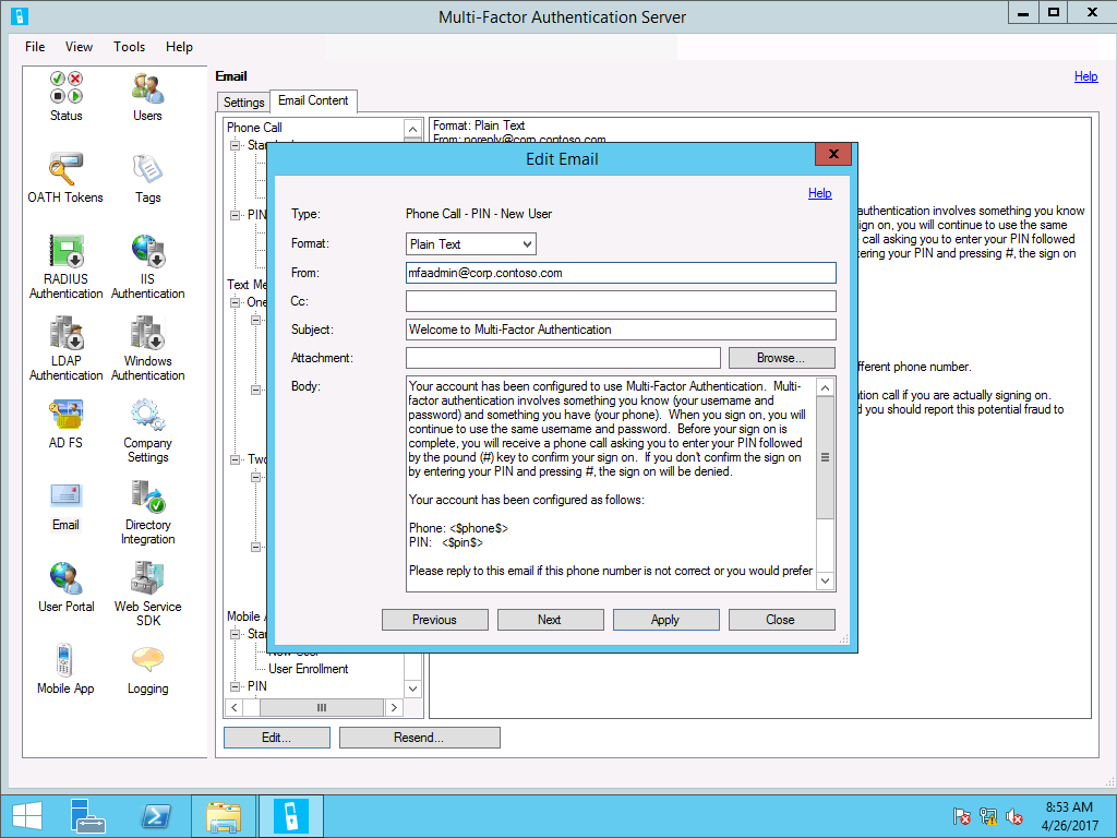 Configure or deploy multifactor authentication services windows edit email dialog within content settings m4hsunfo