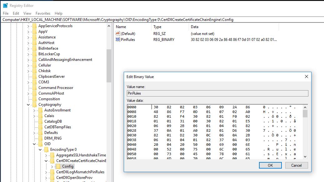 Enterprise Certificate Pinning Microsoft Docs