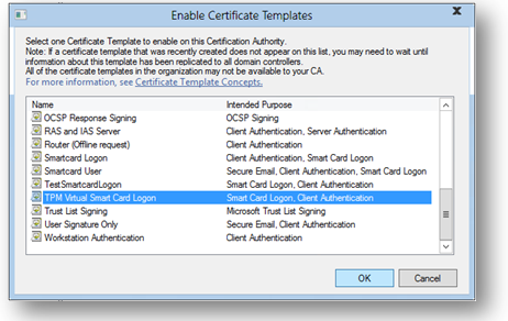 Get started with virtual smart cards walkthrough guide windows 10 selecting a certificate template yadclub Gallery