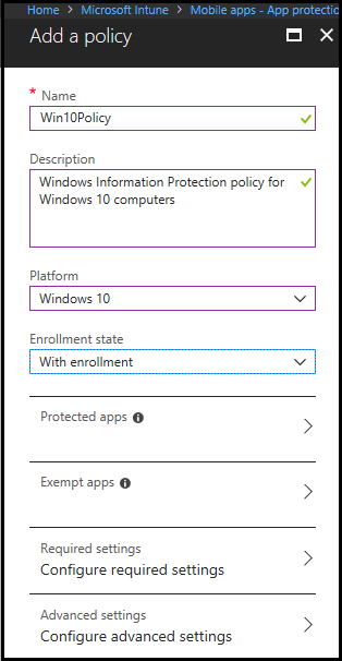 windows information protection group policy