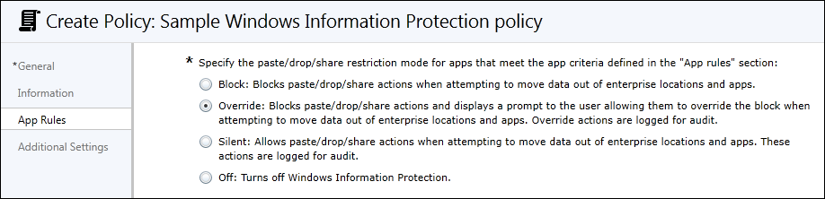 Microsoft Intune Set The Protection Mode For Your Data