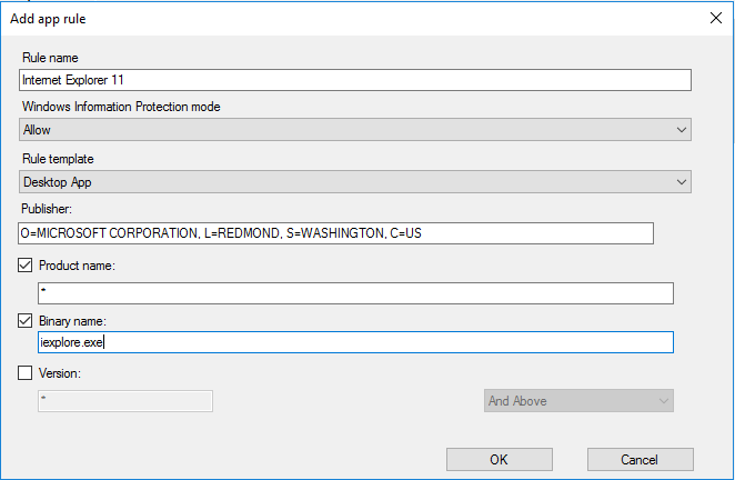 Create and deploy a Windows Information Protection (WIP) policy