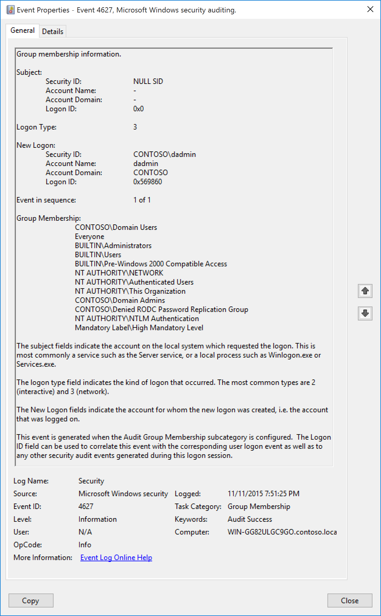 4627S Group Membership Information Windows 10