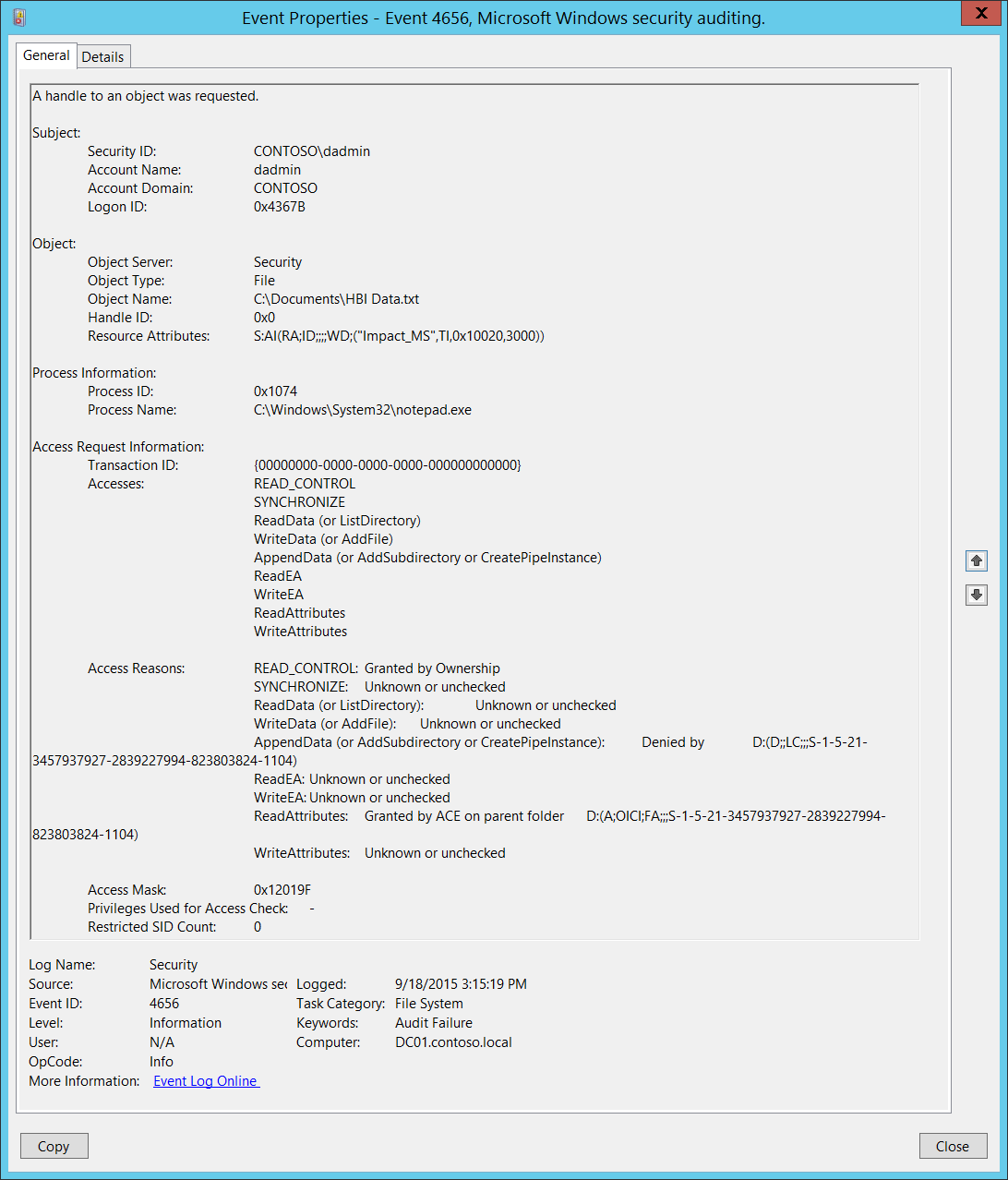 4656 s f a handle to an object was requested windows 10 rh docs microsoft com