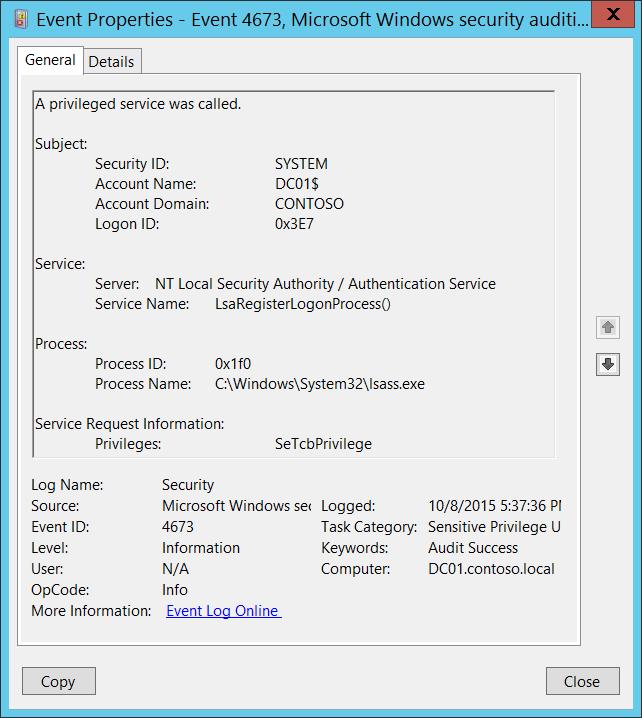 4673(S, F) A privileged service was called  (Windows 10