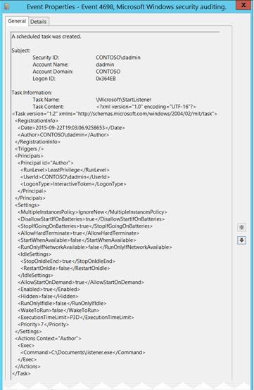 4698 s a scheduled task was created windows 10 microsoft docs rh docs microsoft com