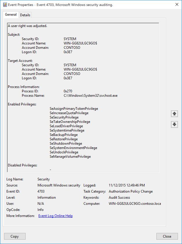 4703 s a user right was adjusted windows 10 microsoft docs rh docs microsoft com