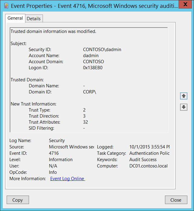4716(S) Trusted domain information was modified  (Windows 10