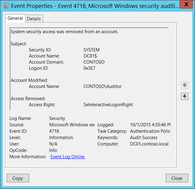 4718(S) System security access was removed from an account  (Windows