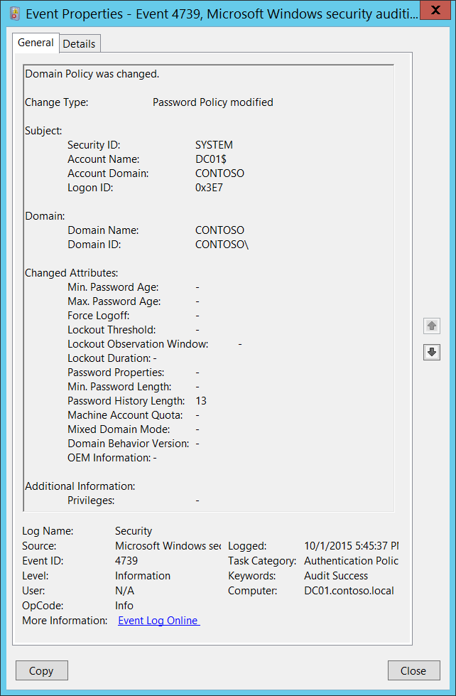 4739(S) Domain Policy was changed  (Windows 10) | Microsoft Docs