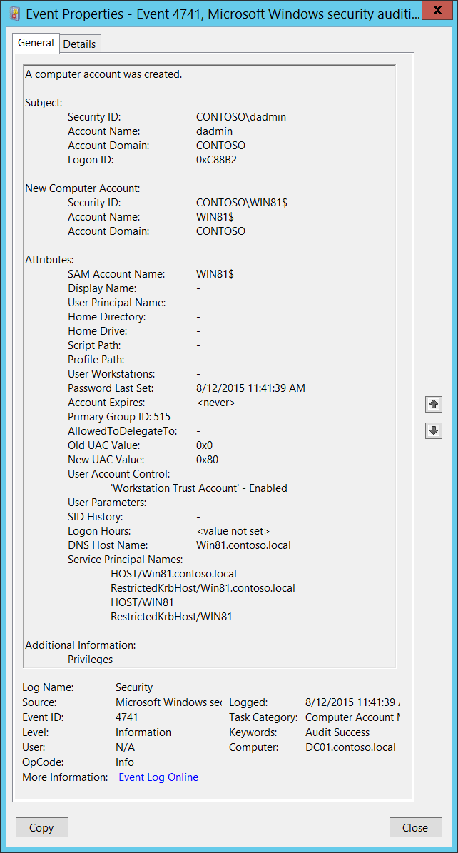 4741(S) A computer account was created  (Windows 10