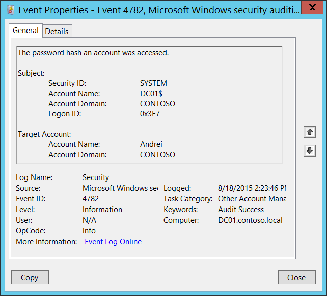 4782(s) the password hash of an account was accessed (windows 10