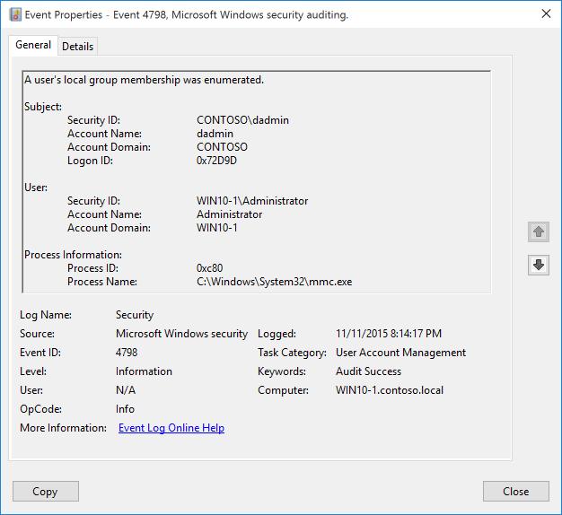 4798 s a user s local group membership was enumerated windows 10 rh docs microsoft com