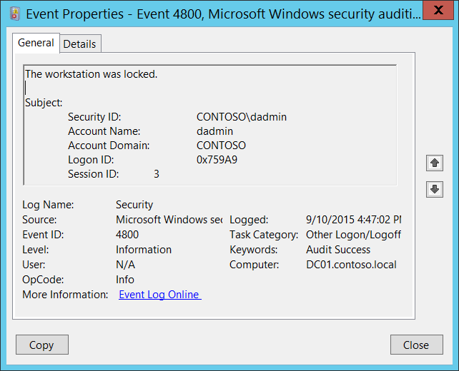 4800(S) The workstation was locked  (Windows 10) | Microsoft