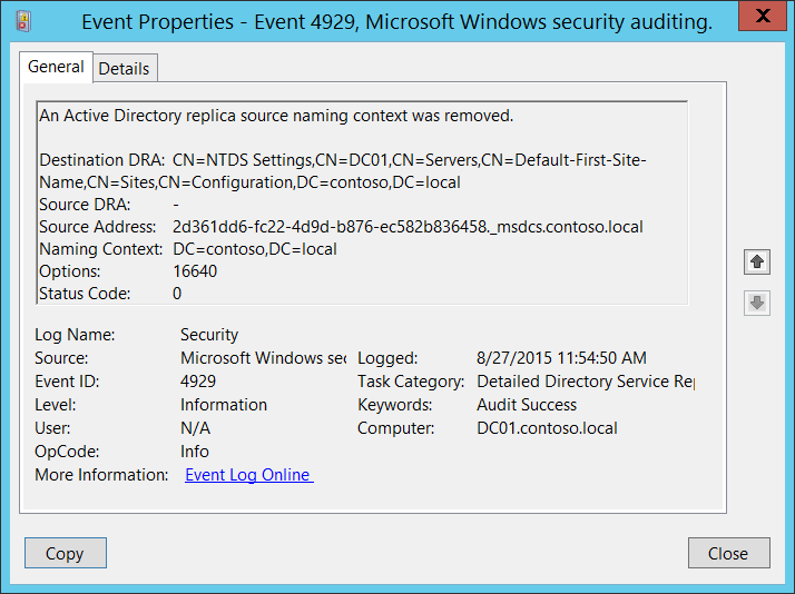 4929 s f an active directory replica source naming context was