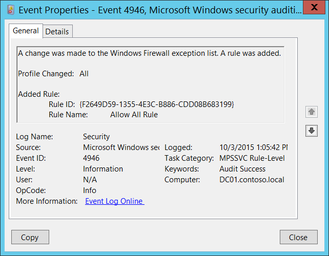 4946s a change has been made to windows firewall exception list a windows 10 windows server 2016 event 4946 illustration ccuart Images