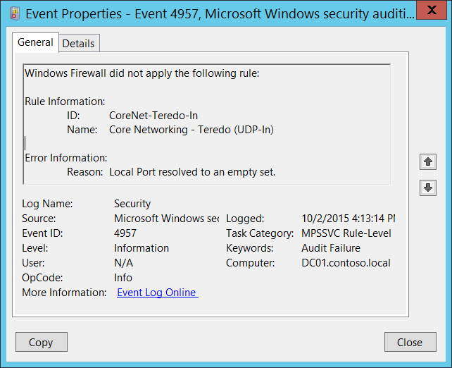 4957(F) Windows Firewall did not apply the following rule