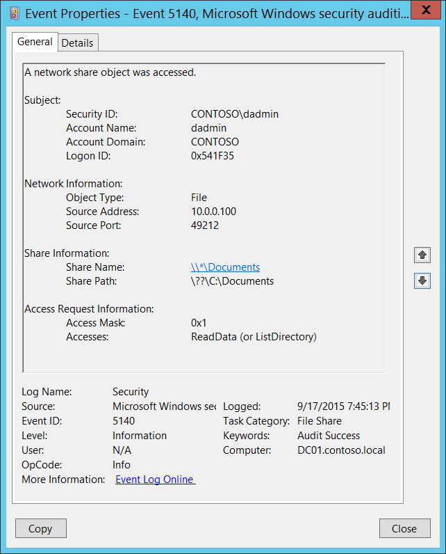 5140(S, F) A network share object was accessed  (Windows 10