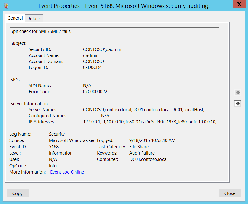 5168(F) SPN check for SMB/SMB2 failed  (Windows 10