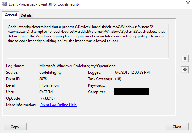 Afbeeldingsresultaat voor Windows 10 code integrity policy not trusted
