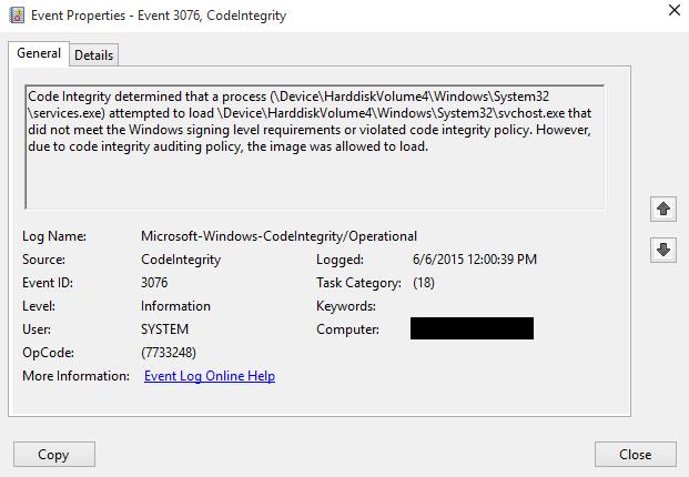 Afbeeldingsresultaat voor Windows 10 code integrity policy not trusted