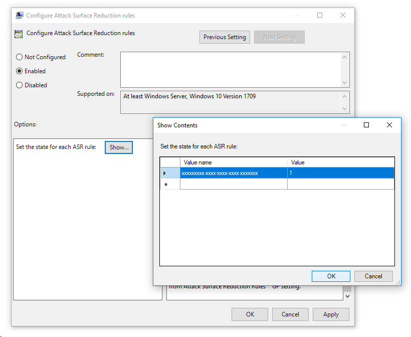 Group policy setting showing a blank attack surface reduction rule ID and value of 1