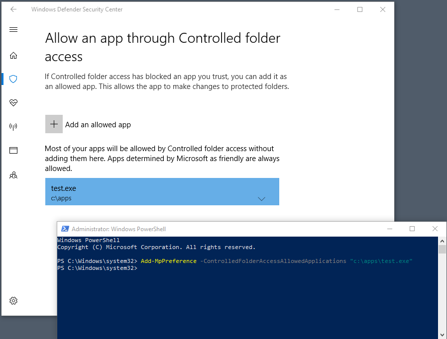 Screenshot of a PowerShell window with the above cmdlet entered