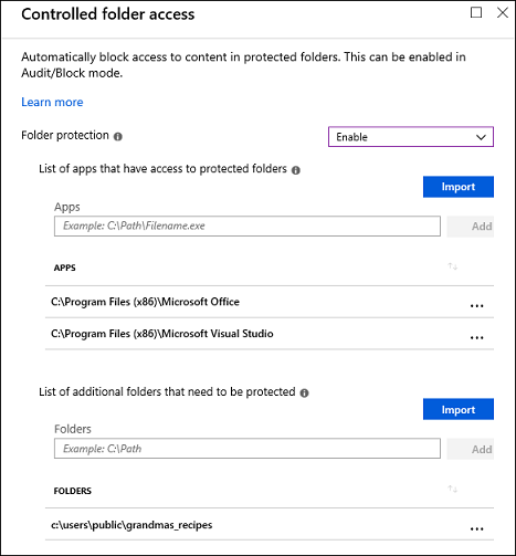 Enable controlled folder access in Intune