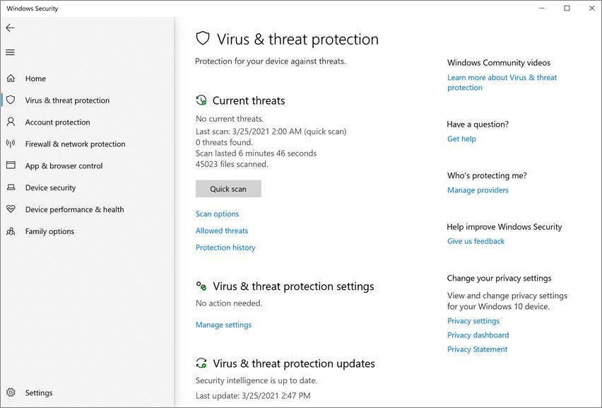 Microsoft Defender Antivirus In The Windows Security App Windows Security Microsoft Docs