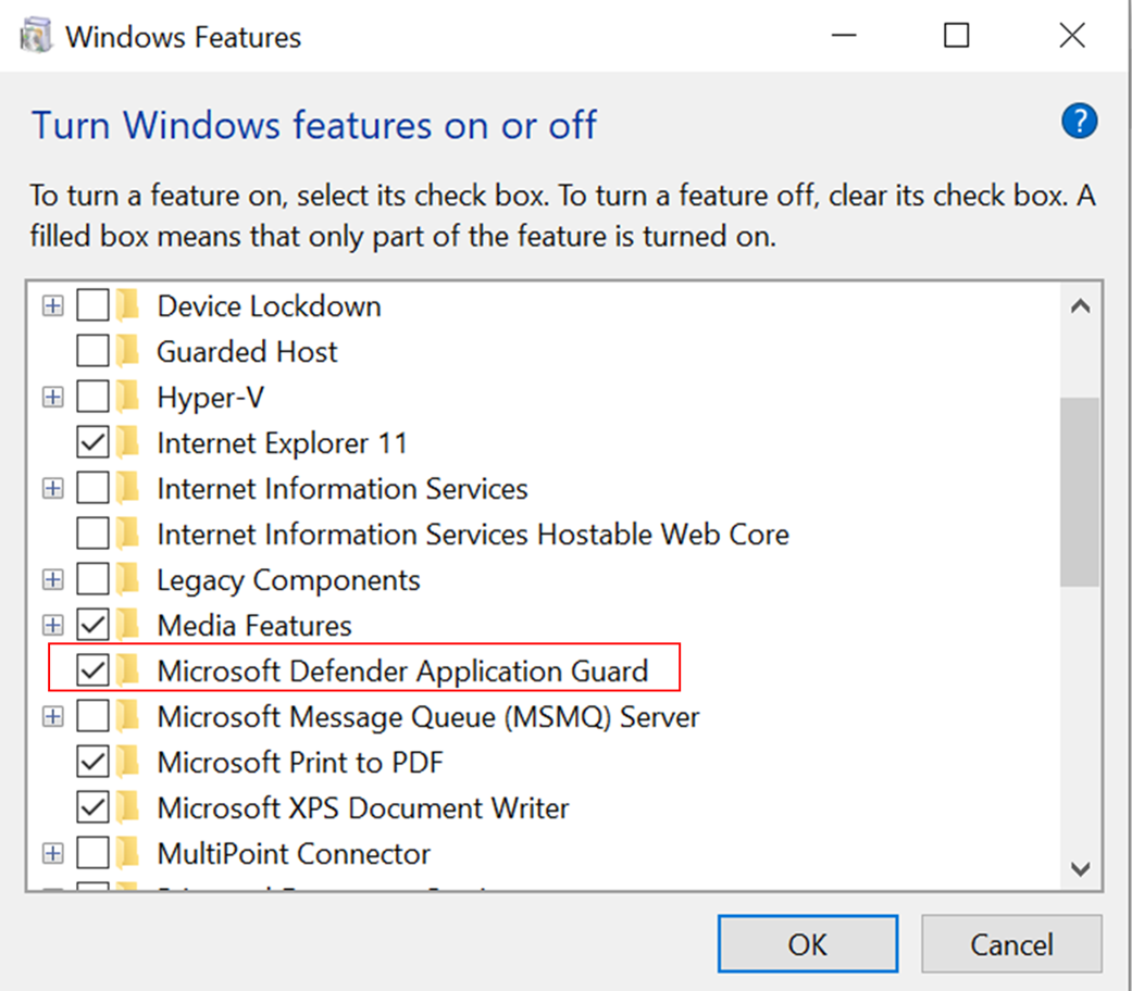 Windows Features, turning on Microsoft Defender Application Guard