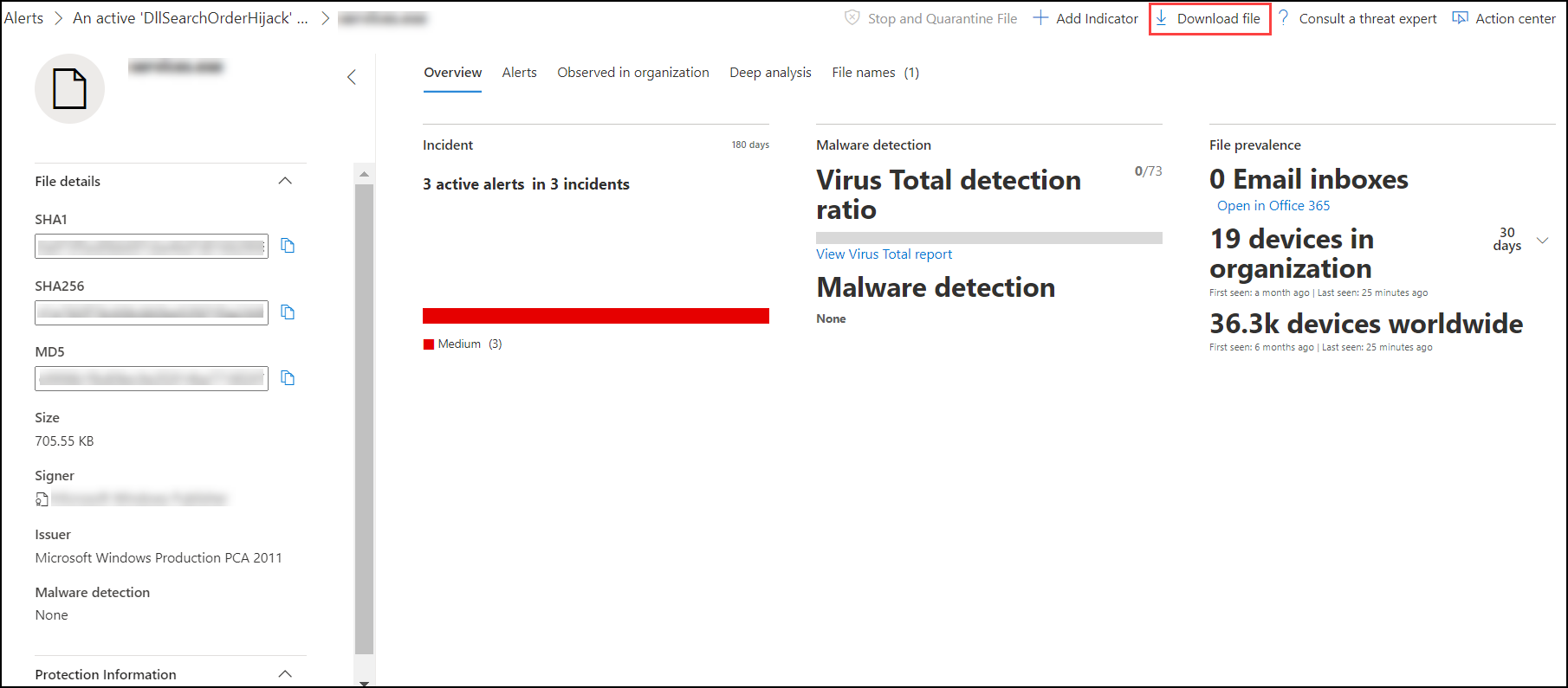 Take response actions on a file in Microsoft Defender ATP