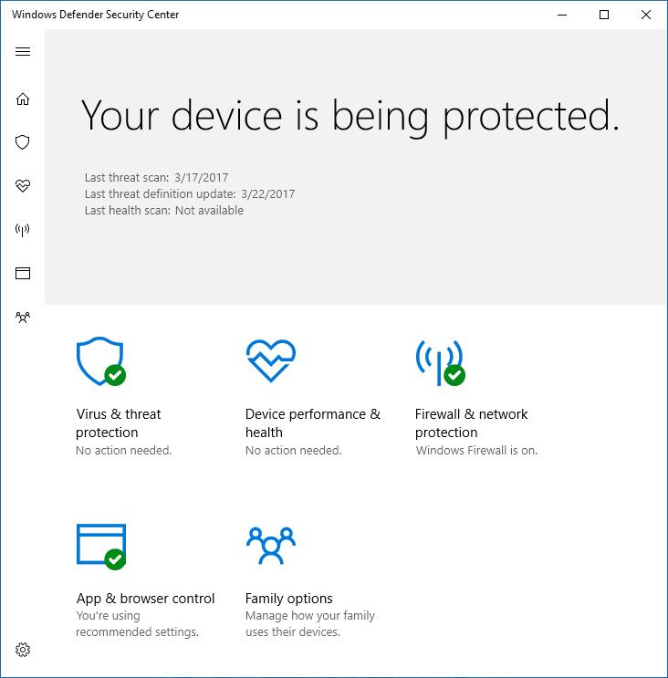 Hide the Windows Defender Antivirus interface   Microsoft Docs