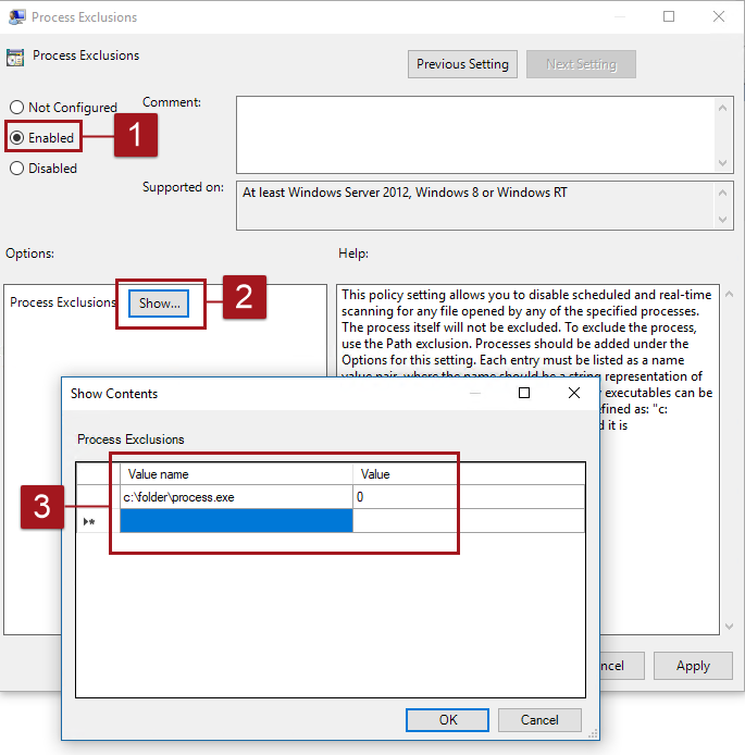 Configure exclusions for files opened by specific processes