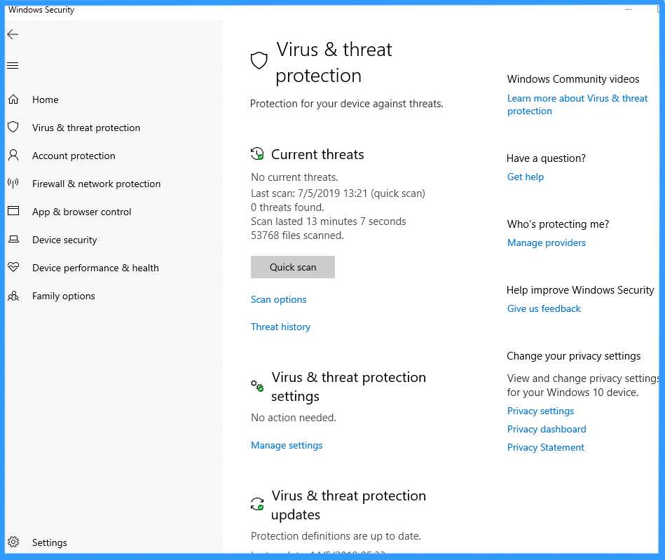 Windows Defender Antivirus in the Windows Security app