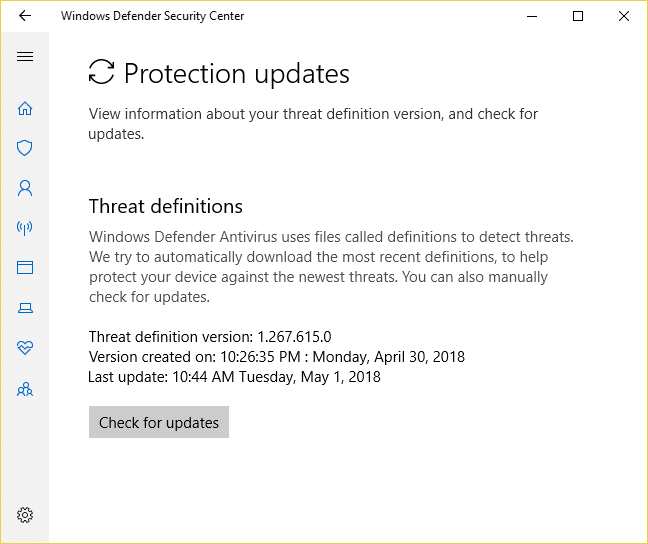 Windows Defender Antivirus In The Windows Defender Security Center