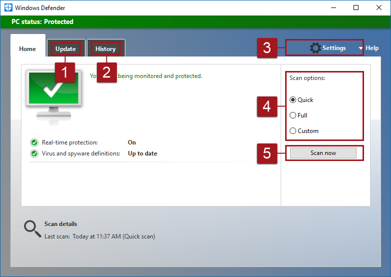 Windows defender antivirus in the windows defender security center version of windows defender in windows 10 before version 1703 ccuart Gallery