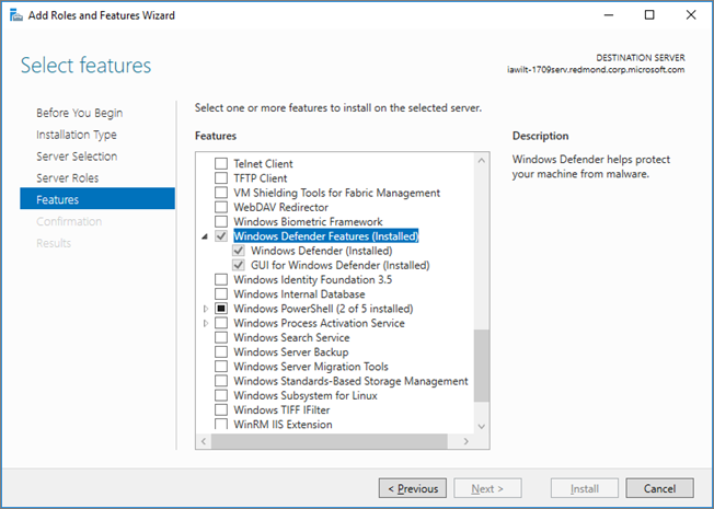 Windows Defender Antivirus on Windows Server 2016