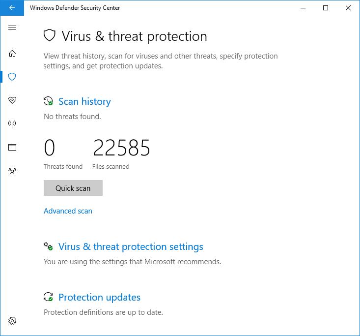 Enable the limited periodic Windows Defender Antivirus