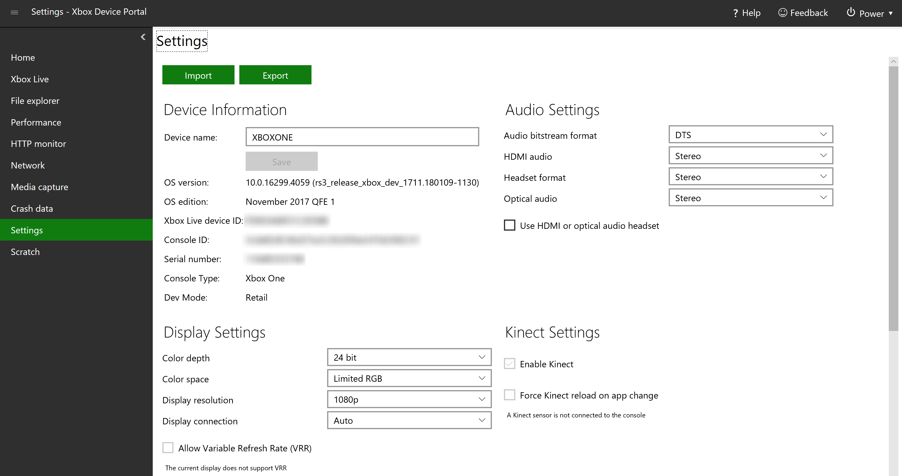 Device Portal For Xbox Windows Uwp Applications Microsoft Docs Unkown Xbox360 Console Help Identify W Fixing Dvd Drive There Are Several Sections With Different Settings To View And Or Edit Which Explained Below
