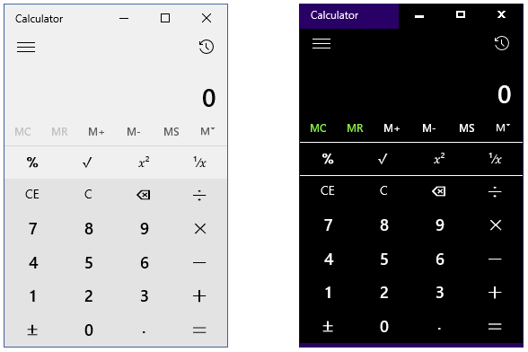Calculator Shown In Light Theme And High Contrast Black