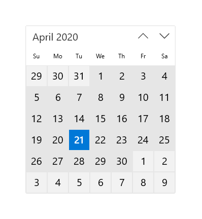Calendar view - Windows UWP applications | Microsoft Docs