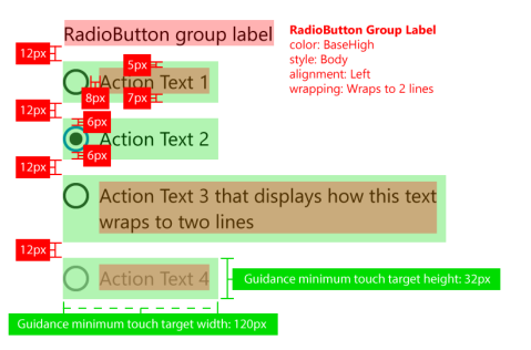 spacing guidelines for radio buttons