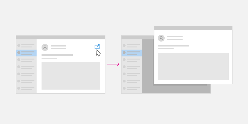 Wireframe showing an app with multiple windows