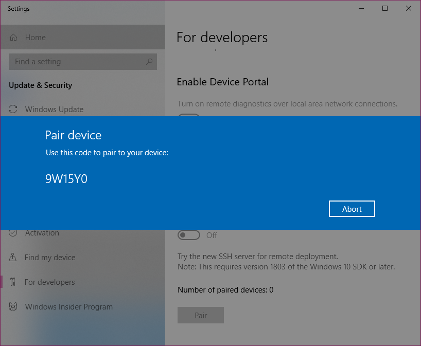 Enable your device for development - Windows UWP