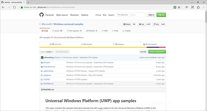Get UWP app samples - Windows UWP applications | Microsoft Docs