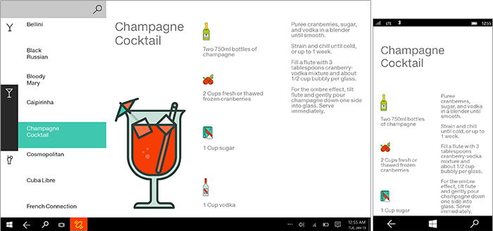a design for a cocktail creator app