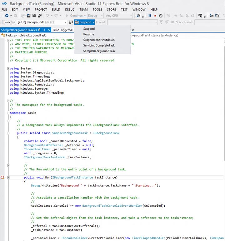 Debug a background task - Windows UWP applications