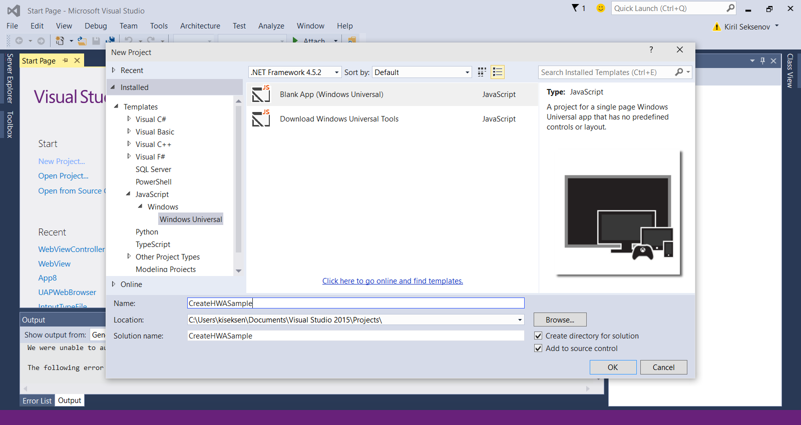Hosted web apps convert your web application to a windows app step 2 create a blank javascript app ccuart Gallery