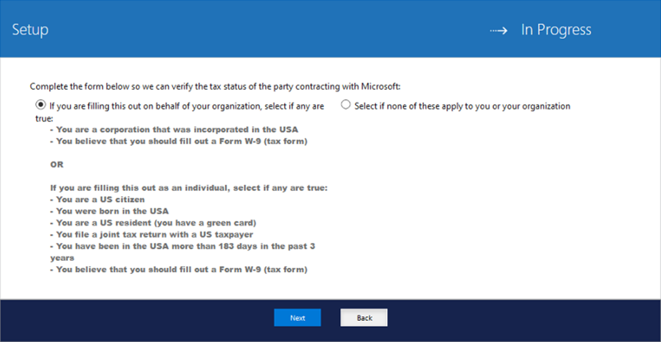 Set Up Your Payout Account And Tax Forms Windows Uwp